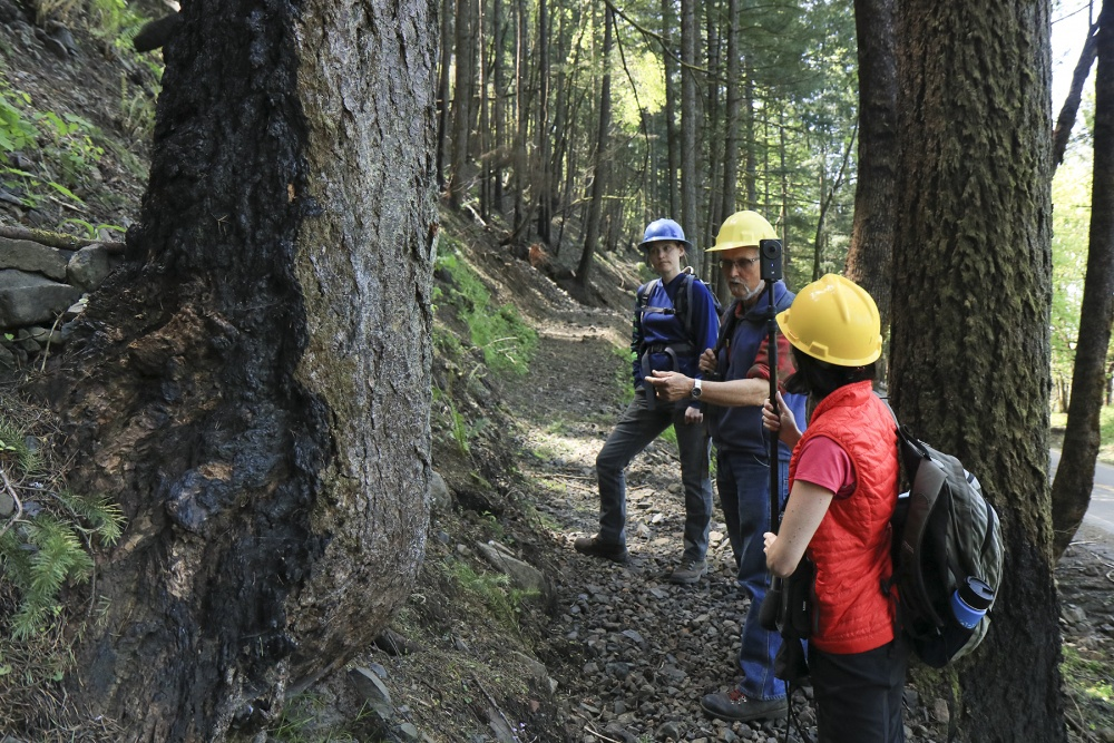Retired U.S. Forest Service ecologist Robin Dobson describes wildfire effects to multimedia journalism master's student and OPB reporter Cassandra Profita as she records 360 video in the Oneonta Gorge. Photo by Jay Kosa.
